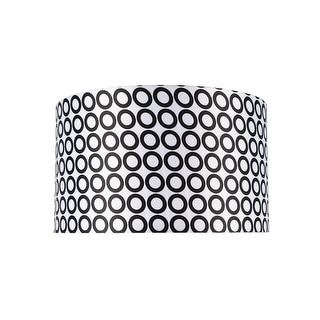 "Link to Aspen Creative Hardback Drum (Cylinder) Shape Spider Construction Lamp Shade in Black & White Geometric Print (17"" x 17"" x 10"") Similar Items in Lamp Shades"