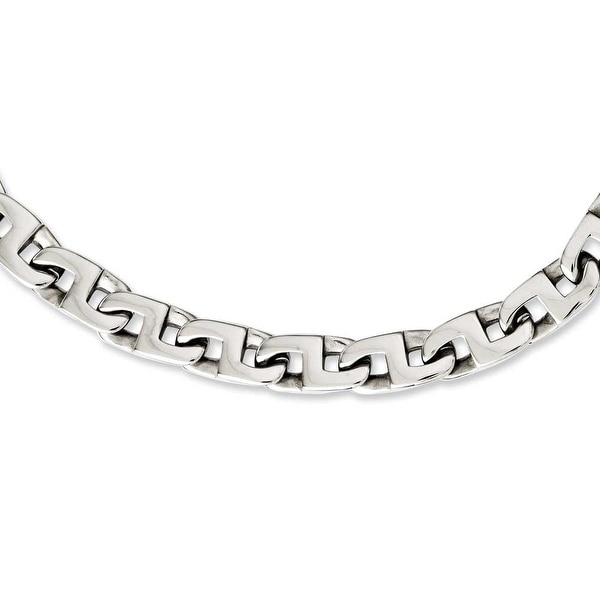 Chisel Stainless Steel Polished Fancy Squares Link Necklace (10 mm) - 24 in