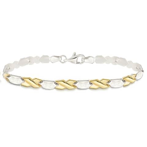 "Forever Last 10 K Gold Bonded over Silver 2 Tone 7.25""Bracelet"