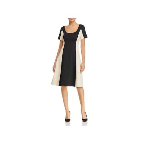 Donna Karan Womens Scuba Dress Knee-Length Colorblock