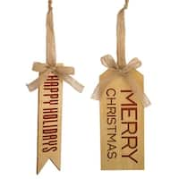 Set of 12 Brown and Red Christmas Holiday Themed Wooden Tag Ornaments with Tie 10.25""
