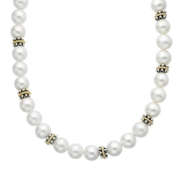 Freshwater Pearl Necklace with Sterling Silver and 14K Gold Beads