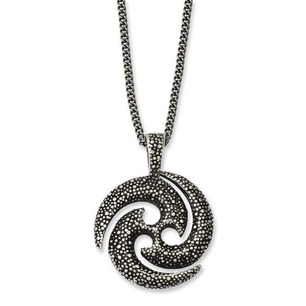 Chisel Stainless Steel Antiqued & Textured Circle 22in Necklace (2 mm) - 22 in