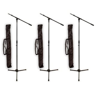 Podium Pro MS2 Adjustable Steel Microphone Stands with Booms and Bags 3 Stand Set MS2SET9-3S