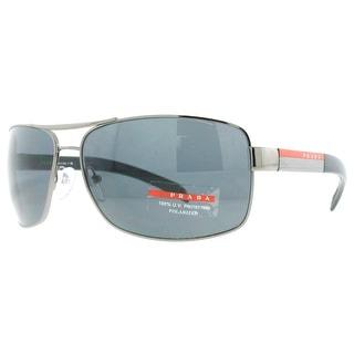 PRADA Rectangular SPS 54I Men's 5AV5Z1 Gunmetal Gray Polarized Sunglasses - 65mm-14mm-125mm