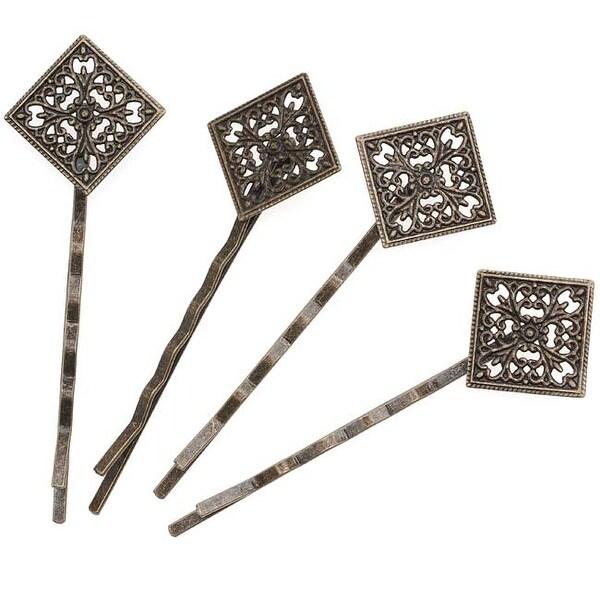 Antq. Brass Color Diamond Filigree Bobby Pins 66.5mm