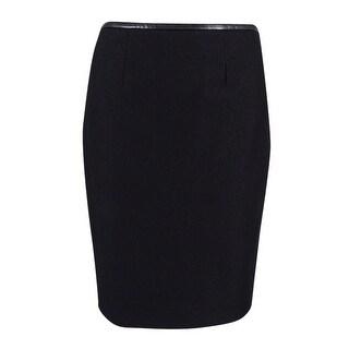 Calvin Klein Women's Petite Shimmer Ponte Skirt - Black/silver