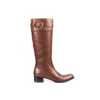 Car Shoe By Prada Brown Leather Buckled Knee High Boots