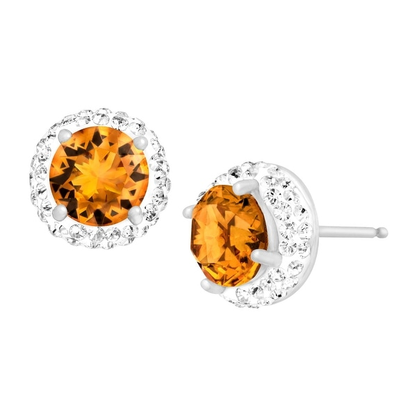 Crystaluxe November Earrings with Yellow Swarovski elements Crystals in Sterling Silver