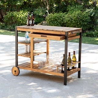 Link to Murston Contemporary Natural Wood Bar Cart by Havenside Home Similar Items in Outdoor Coffee & Side Tables