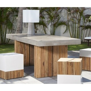 Link to Indoor Outdoor Grey Concrete and Teak Dining Table - 87 Similar Items in Dining Room & Bar Furniture