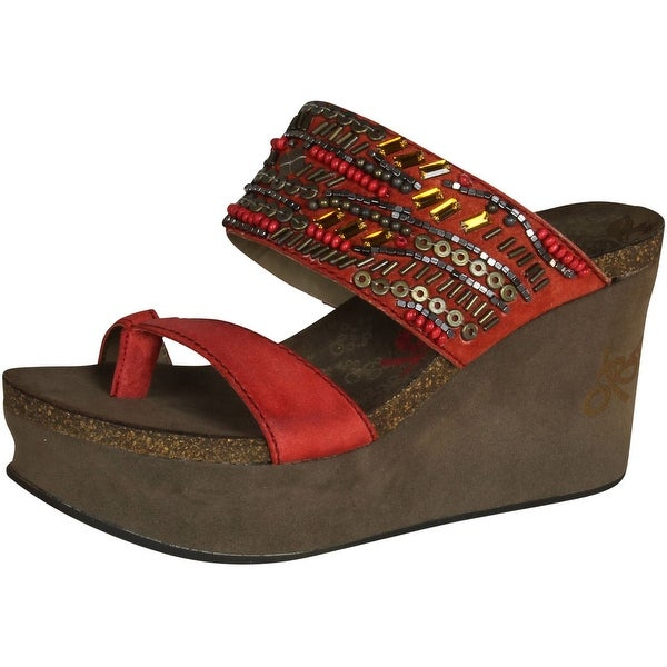Otbt Womens Brimfield Fashion Wedge Sandals - Crimson - 9.5 b(m) us