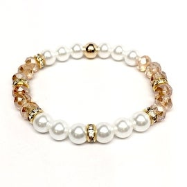 Pearl & Champagne Crystal 'Posh' stretch bracelet 14k Over Sterling Silver