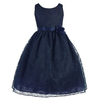Floral Pattern Lace Flower Girl Dress Navy CA 749