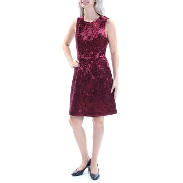 e497e74d42c6a Shop RACHEL ROY Womens Burgundy Velvet Sleeveless Scoop Neck Knee Length  Fit + Flare Party Dress Size  8 - On Sale - Free Shipping On Orders Over   45 ...