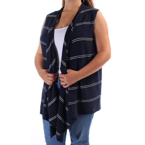 TOMMY HILFIGER Womens Navy Striped Sleeveless Open Cardigan Sweater Size: XL