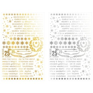 Gilded Christmastime -1 Silver & 1 Gold-Idea-Ology Remnant Rubs Foil Rub-Ons