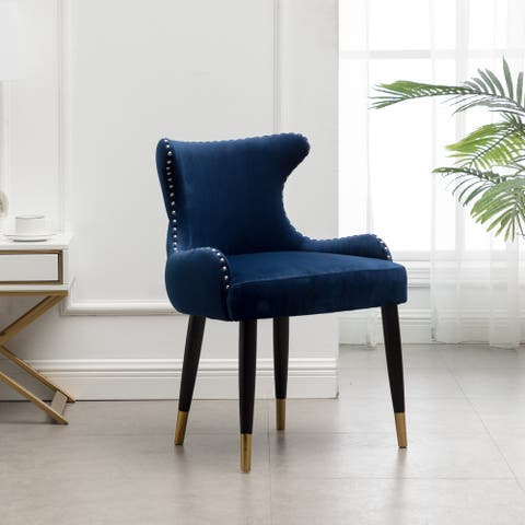 Lindale Contemporary Velvet Upholstered Nailhead Trim Accent Chair, Blue