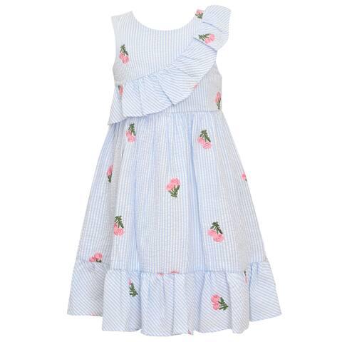 dfb9cde05b9 Bonnie Jean Little Girls Blue Stripe Flower Knee-Length Easter Dress