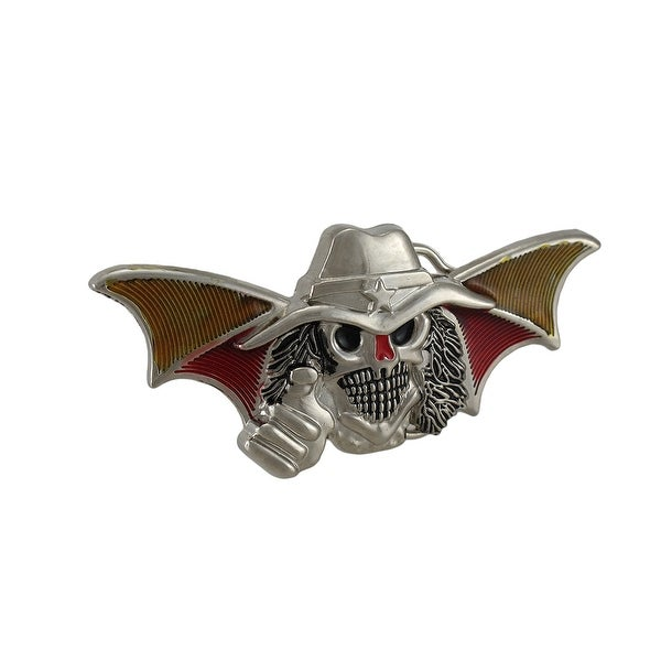 Bat Wing Cowboy Skull Chrome Belt Buckle Western Goth