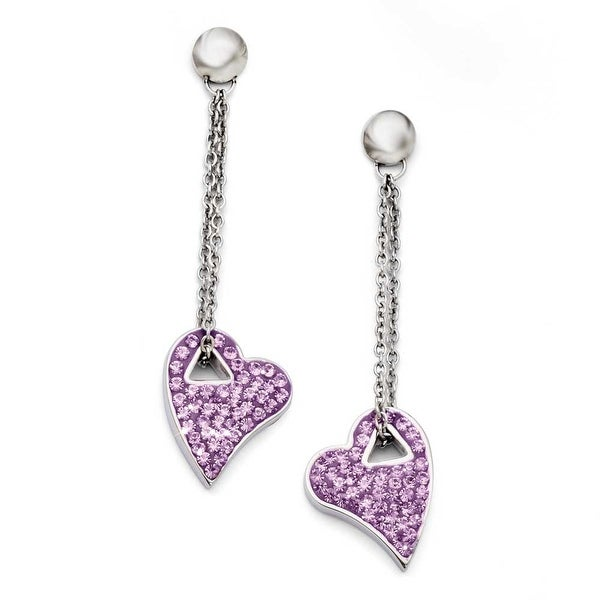 Chisel Stainless Steel Light Purple Crystal Post Dangle Heart Earrings