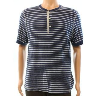 Club Room NEW Navy Blue Heather Grey Mens Medium M Stripe Henley Shirt