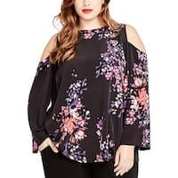 Rachel Rachel Roy Womens Plus Blouse Floral Printed Cold Shoulder