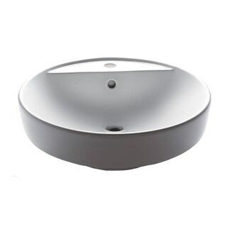 """Eago BA141 18-1/2"""" Bathroom Sink Round Ceramic Above Mount Sink - White"""