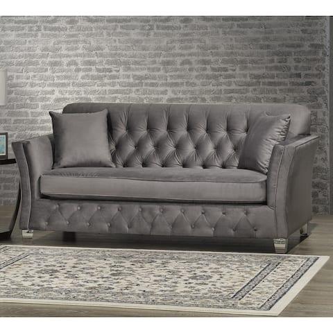 Corrie Grey Velvet Fabric Button Tufted Sofa