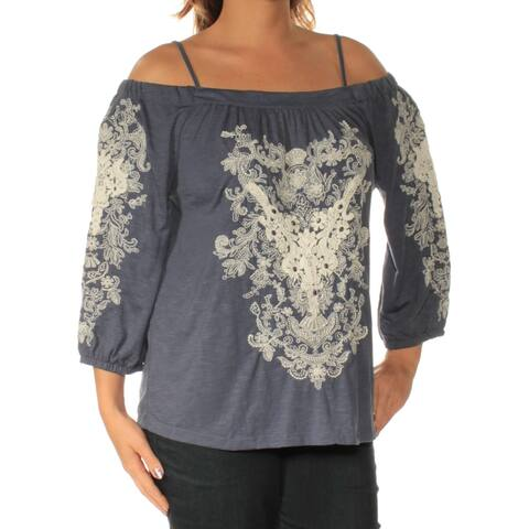 INC Womens Blue Cold Shoulder Embroidered Long Sleeve Square Neck Top Size: L