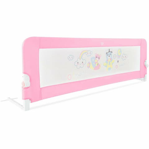 """69"""" Breathable Baby Toddlers Bed Rail Guard Safety Swing Down-Pink"""