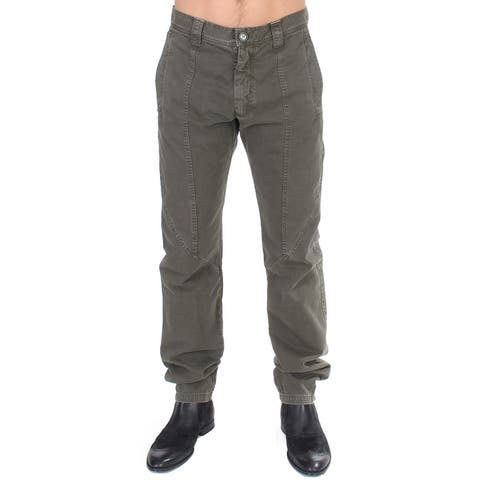 GF Ferre Green Cotton Straight Fit Chinos Men's Pants - it48-m