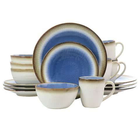 Gibson Elite Moonstruck 16 Piece Ceramic Dinnerware Set in Blue