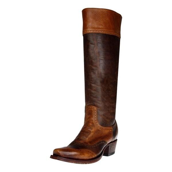 Johnny Ringo Fashion Boots Womens Knee Zipper Lacing Cognac