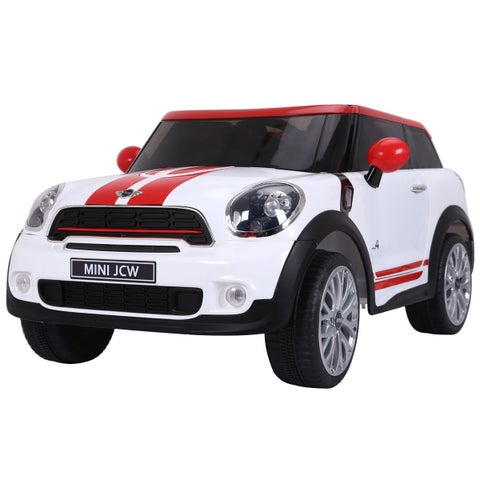 Gymax White Electric MINI PACEMAN Kids Ride On Car Licensed R/C Remote Control MP3