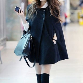 Women's Black Cape Coat