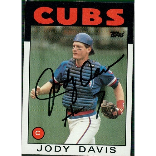 Signed Davis Jody Chicago Cubs 1986 Topps Baseball Card Autographed