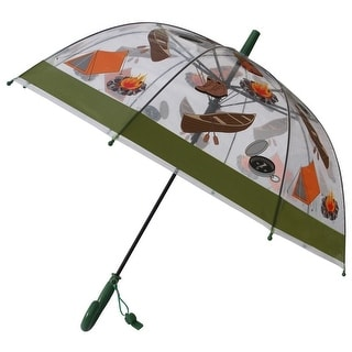 Foxfire Boys Clear Dome Green Trim Camping Whistle Umbrella 29""
