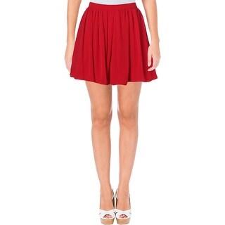 B. Darlin Womens Juniors Mini Skirt Chiffon Pleated - 3/4