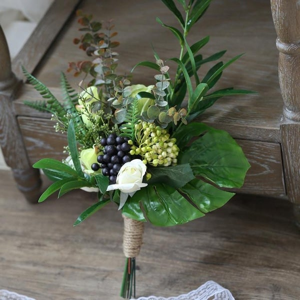 Wedding Bouquet Rustic Country Berry Bridesmaid Bouquet - Green