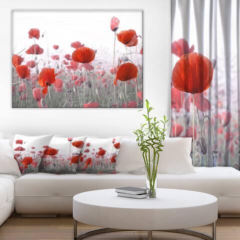 Designart 'Amazing Red Poppy Flower Garden' Flower Artwork Print on Canvas