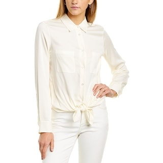 Link to Theory Tie-Front Silk-Blend Shirt Similar Items in Pants