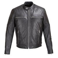 MENS SOFT SHEEP LEATHER JACKET BLACK with PADDED SHOULDERS FJ7