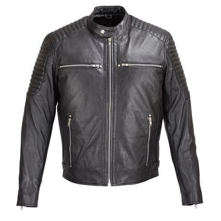 MENS SOFT SHEEP LEATHER JACKET BLACK w/ PADDED SHOULDERS FJ7