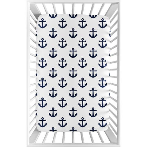 Navy and White Anchors Baby Boy Girl Fitted Mini Portable Crib Sheet For Portable Crib or Pack and Play - Blue Nautical Sailor
