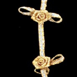 """Hand Made Golden Colored Rose Garland Craft Ribbon 1/2"""" x 10 Yards"""