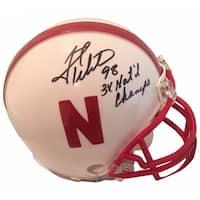 Grant Wistrom Autographed Nebraska Signed White Football Mini Helmet 3 X CHAMPS