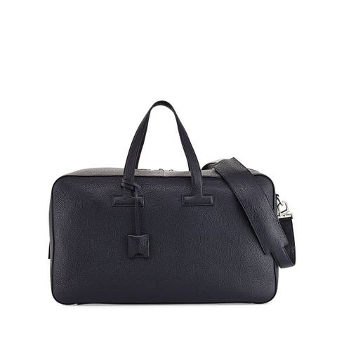 Tom Ford Mens Black T Line Grained Leather Duffle Holdall Weekender Bag~RTL$3750