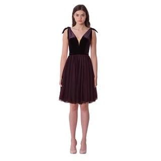 Isabel Garcia Velvet Bodice Flared Tulle Skirt Sleeveless Cocktail Evening Dress - M