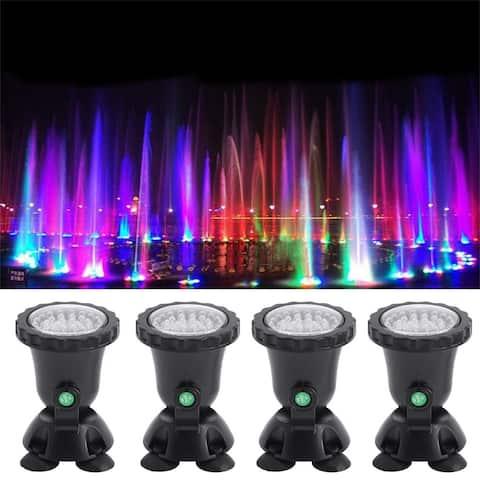 Submersible 36 LED RGB Pond Spot-Lights Pool-Fountain IP68+IR Remote - 4x4x7 inch